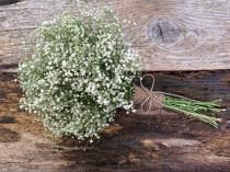 wedding photo - Simple Dried Baby's Breath Bouquet - Small Wedding Bouquet, Decor Bouquet, Flower Girl Bouquet, Small Bridesmaid - Baby's Breath