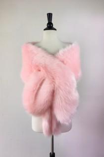 wedding photo - Pink faux fur bridal wrap, Wedding Fur shrug, White Fur Wrap, Bridal Faux FurStoleFur Shawl Cape,wedding faux fur wrap