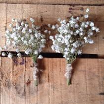 wedding photo - Dried English Gypsopheila Baby's Breath Buttonhole Boutonniere, Rustic Wedding, Lapel Pin, Groom, Groomsmen, Babies Breath