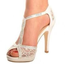 wedding photo - Details About Off White Lace Diamante Platform Wedding Sandals Heels T-Bar Peeptoe Shoes
