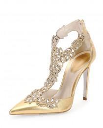 wedding photo - Crystal-Lace Metallic Leather Pump, Gold