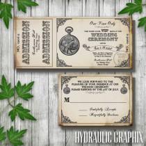 wedding photo - Steampunk Printable Ticket Wedding Invitation and RSVP, Printable Ticket Invitation, Pocket Watch Invitation, Vintage Ticket Invitation