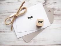 wedding photo - Mini Dragonfly Rubber Stamp 3/4 inch