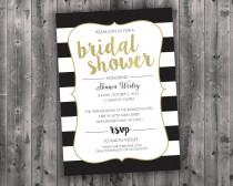 wedding photo - Black White & Gold Bridal Shower Invitations Printed - Affordable, Cheap, Charming, Shabby Chic, Elegant, Stripes, Modern, Trendy, Golden