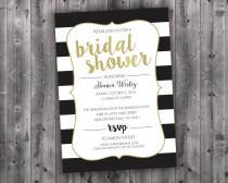 Black White & Gold Bridal Shower Invitations Printed - Affordable, Cheap, Charming, Shabby Chic, Elegant, Stripes, Modern, Trendy, Golden