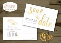 wedding photo - White and Gold Save The Date Postcard, classic gold, DIY wedding, printable save the date, postcard save the date, black and gold wedding