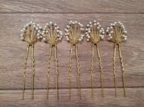 wedding photo - Baby's Breath Hair Pins, Bridal, Bridesmaids