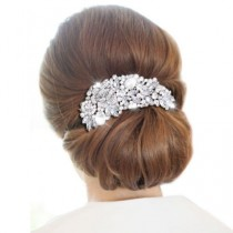wedding photo - Wedding Hair Comb, Crystal Bridal Hair Comb, Large Bridal Comb Silver Hair Comb, Swarovski Crystal Bridal Hair Comb, Rose Bridal Hair Piece