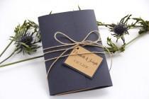 wedding photo - Navy Blue Wedding Invitation, Rustic Wedding Invitation, Twine Wedding Invitation, Wedding Invitation Set, Wedding Invitation Suite