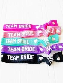 wedding photo - Team Bride Hair Ties, Bridal Shower, Bachelorette Party , Wedding Day Survival, Thank You, Bridesmaid Gift, MOH, Party Favor, Hangover Kit