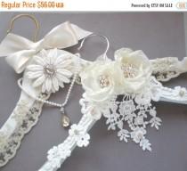 wedding photo - ON SALE Elegant French Bridal Hanger. Bridal Keepsake GIFT. Two Styles. Rhinestones Pearl Gems. Prom. Confirmation Dress