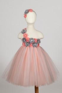 wedding photo - Peach and Grey tutu dress, Flower Girl Dress, Peach and silver, Tutu Dress-, Birthday Tutu Dress, Peach Tutu Dress, Blush tutu dresses