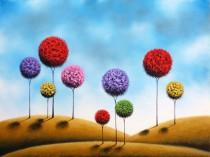 wedding photo - Art Print of Whimsical Landscape Painting, Abstract Art, Lollipop Tree Print, Giclee Print of Oil Painting, Modern Contemporary Folk Art