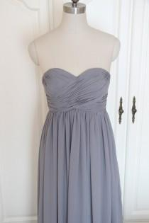 wedding photo - Gray Sweetheart Bridesmaid Dress Long Grey Strapless Chiffon Bridesmaid Dress-Custom Dress
