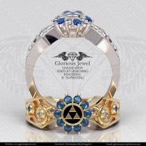 wedding photo - Glorious legend of Zelda hyrule triforce ring with CZ stone and Enamel / 925 silver / 14K Gold / Custom made / FREE SHIPPING / Made to Order