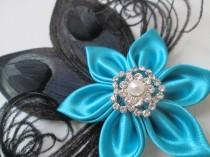 wedding photo - Turquoise & Black Hair Clip, Bridesmaid Fascinator, Teal Blue Hair Flower w/ optional Birdcage Veil, Prom or Homecoming Hair Clip