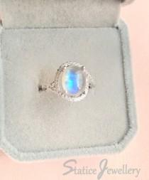 wedding photo - Blue Moonstone Ring Sterling Silver, Genuine Natural Rainbow Moonstone Birthstone Cubic Zirconia Wedding Engagement Anniversary Gift For Her