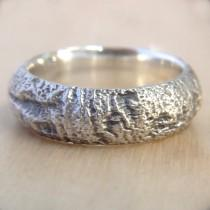 wedding photo - Redwood Tree Bark Wedding Ring in Recycled Silver, Mens Wedding Band Wood, 7mm wide Wedding Band, Size 9 Ring, Size 10 Ring, or Custom Size