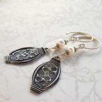 wedding photo - Chinese Lantern Earrings, Sterling Silver, Real Pearls, Artisan Earwire, Leverback Option, Recycled