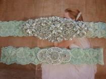 wedding photo - SALE - Wedding Garter, Bridal Garter, Garter Set - Crystal Rhinestone & Pearls on a Light Mint Lace - Style G8005