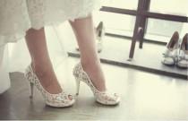 wedding photo - Fashion Fish Toe Ivory Lace High Heels Wedding Bridal Shoes, S013