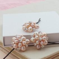 wedding photo - Pink Flora Pearl Floral Bridal Hair Pins Rose Flower Pearls Wedding Hair Clips Bridesmaid Accessories Real Pearls Hair Grips