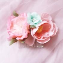 wedding photo - Flower Hair Comb Bridal Headpiece - Rustic Wedding Headpiece Bridal Hair Comb - Wedding Hair Accessory - Pink Mint Flowers Floral Comb