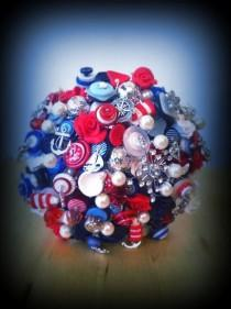 wedding photo - Button Bouquet Deposit - Nautical/Rockabilly