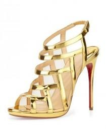 wedding photo - Nicole Mesh-Inset Caged Red Sole Sandal, Gold