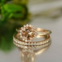 wedding photo - For Love-7mm Round Morganite in 14K Rose Gold Morganite and Diamond Halo Engagement Ring and Diamond Eternity Wedding Band Bridal Set Rings