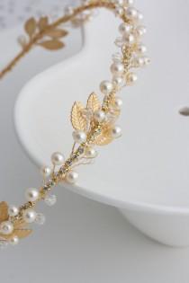 wedding photo - Gold Bridal Headband Pearl Headpiece Matt Gold Leaf Headband Delicate Simple Wedding Hair Accessory  EDERA