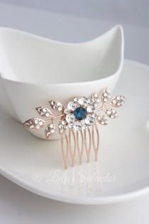 wedding photo - Rose Gold Wedding Comb Sapphire Montana Blue Bridal Hair Accessories Leaf Bridal Hair Pin Small Bridal Clip Blue Crystal Hair Comb MACY
