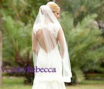 wedding photo - Lace fingertip veil,lace wedding veil, fingertip lace wedding veil, lace veil fingertip,fingertip veil-1 tier short lace bridal veil