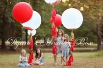 "wedding photo - 36"" Round Latex Balloon with Tassel Tail / Huge Confetti Balloon with Tassels / Biodegradable Latex Huge Balloon / 3' Luxury Balloon"