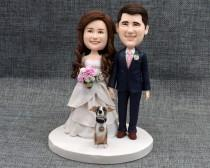 wedding photo - wedding cake topper, personalized cake topper, Bride and groom cake topper, bobblehead cake topper ,Cake Toppers custom cake topper