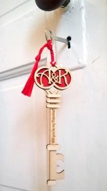 wedding photo - Personalized Wood Valentine or Wedding Gift: Deco Initials Key