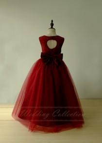 wedding photo - Burgundy Flower Girl Dress Lace Tulle Princess Gown Junior Bridesmaid Dresses