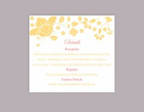 wedding photo - DIY Wedding Details Card Template Editable Word File Download Printable Details Card Yellow Gold Details Card Elegant Information Cards