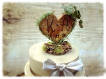 wedding photo - Unique Wedding Cake Topper - Rustic Wedding Cake Topper - Wooden Cake Topper - Heart Cake Topper - Rustic Wedding - Forest Wedding