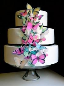 wedding photo - Wedding Cake Topper Wedding Cake Topper EDIBLE BUTTERFLIES - Assorted Pink and Green set of 30 - Cake & Cupcake Decor- Food Accessories