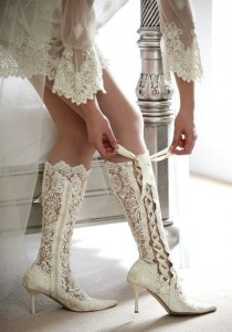 wedding photo - Victorian Lace Up Bridal Boots Size 39 UK