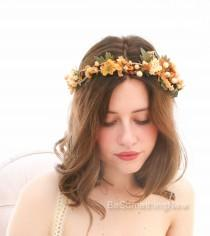 wedding photo - Fall Rustic Floral Crown of in Yellows and Golds Woodland Wedding Hair Halo Flower Crown Autumn Boho Wedding Bridal Hair Wreath