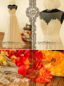 wedding photo - A Line Beach Wedding Dress with Sheer Neckline with Grey Gold Underlay