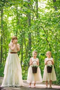 wedding photo - Vintage style Flower Girl Dress,  natural Organic cotton flower girl dress, lace flower girl dress, tulle flower girl dress