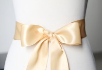 wedding photo - 2 Inch Wide Double Sides Ribbon Sash Belt - Bridal Bridesmaids Flower Girl Sashes Belts - Wedding Dress Party Dress - Gold Golden Champagne