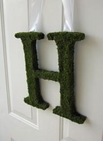 wedding photo - Moss Covered Letter - Moss Covered Letter Wedding Monogram ( 12 inches )