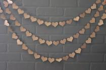 wedding photo - Bachelorette Party Decorations, Craft Paper Red Heart Wedding Garland, Rustic Hearts Bridal Shower Photo Backdrop,  Baby  Bunting Banner