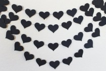 wedding photo - Black Heart Wedding Garland, Black Bachelorette Party Decorations, Paper Hearts Birthday Party, Bridal Shower Decor, Photo Booth Backdrop