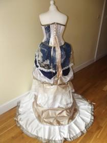 wedding photo - Custom theme / Steampunk Victorian wedding dress / prom with corset, bustle & train MADE TO ORDER/ Measure