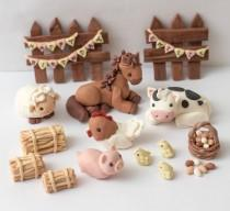 wedding photo - Fondant farm animal toppers - See policies for turnaround time & fondant care info